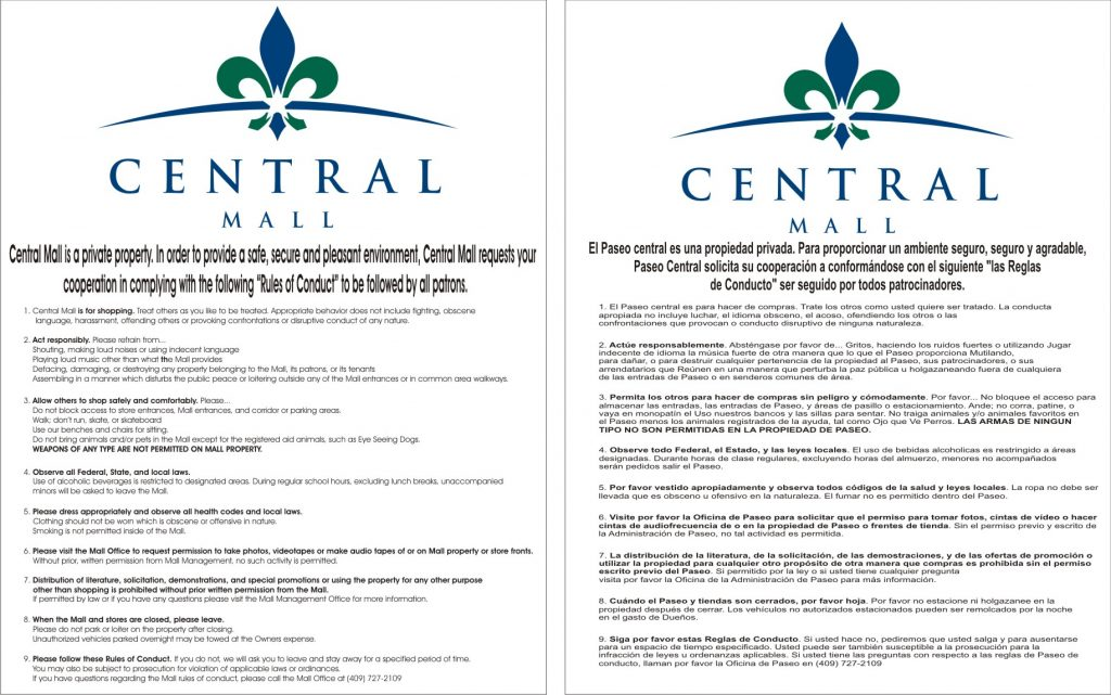 central-mall-code-of-conduct-posters