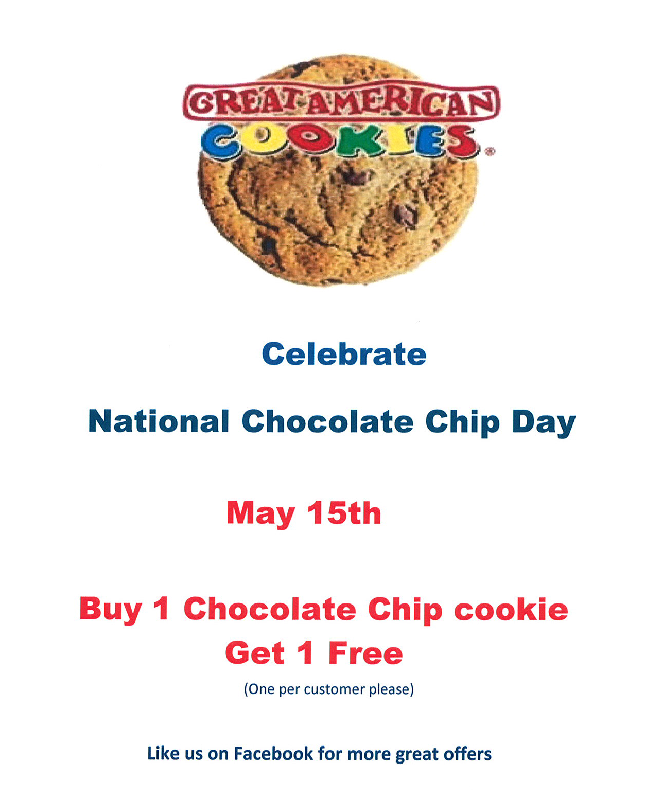 Event - National Chocolate Chip Cookie Day! | Central Mall ...
