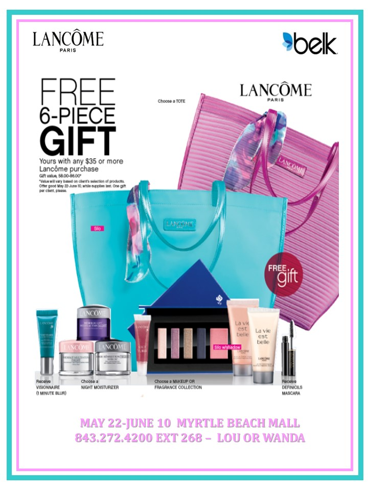 LANCOME FREE 6-PIECE GIFT WITH PURCHASE Sale | Myrtle Beach Mall ...